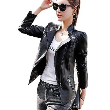 Female leather jacket spring leather jacket