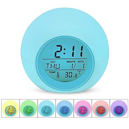 Amazon.com: SEALEN Updated Kids Alarm Clock, 7 Colors ...