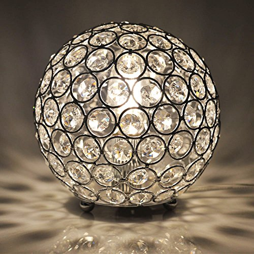 Floodoor Crystal Spherical Table Lamp Silver Decorative Bedside Desk lamp for Bedroom, Living Room, Dining Room, Kitchen