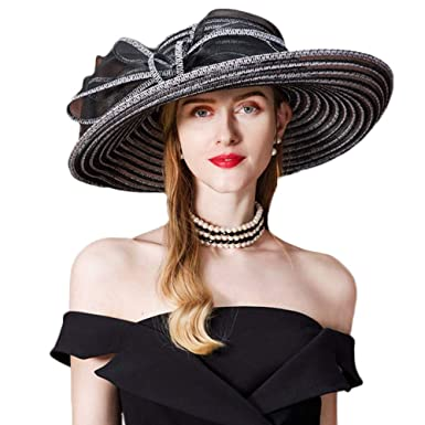 FADVES Women Straw Fascinator Wide Brim Floppy Hats Derby Wedding Cocktail  Hat at Amazon Women s Clothing store  59ab1ccd49c