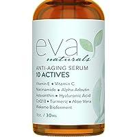 Eva Naturals 10 aktiva hudserum (30 ml) – fin linje, mörk fläckborttagare för ansiktet – uppnå en ljusare, lättare…