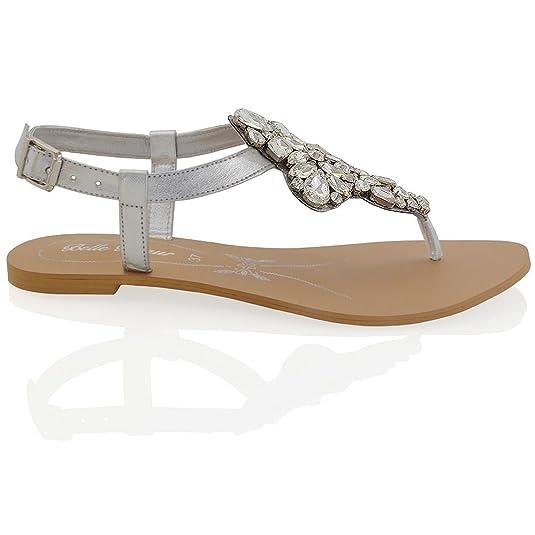ESSEX GLAM Damen Silber Sandalette T-Spangen Zehentrenner mit gehäuften Strasssteine EU 40 gf2FuZ
