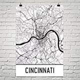 "Cincinnati Poster, Cincinnati Art Print, Cincinnati Wall Art, Cincinnati Map, Cincinnati City Map, Cincinnati Ohio City Map Art,Cincinnati Gift,Cincinnati Decor, ( 12"" x 18"", White and Black )"
