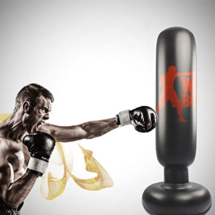 Adult Kids Inflatable Stress Punching Bag Boxing Free Standing Training w// Pump
