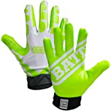 Battle Receivers Ultra-Stick Football Gloves - Youth XL - White/Neon Green