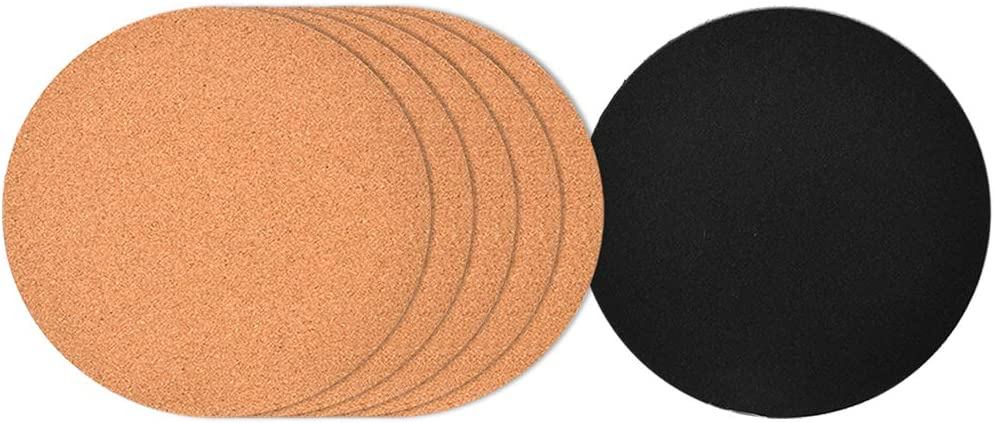 """6"""" cork coasters, Round Cork & Plastic Plant Saucers for Gardening, cork trivets for hot pots and pans, Absorbent Cork mat for Wine, Coffee & Drinks, Cork Board for DIY Craft Supplies (Set of 6)"""