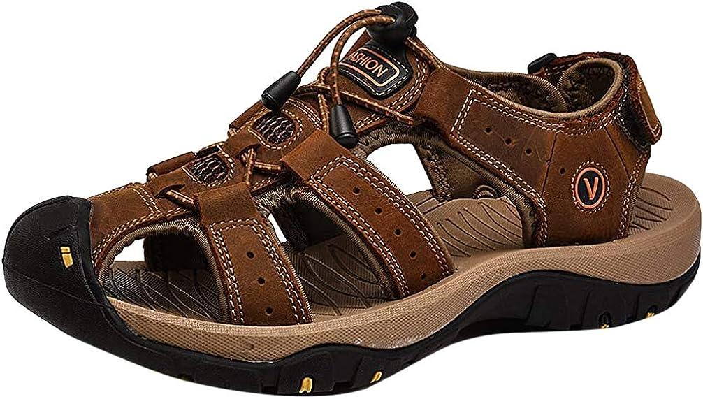 FLARUT Homme Sandales de Randonn/ée Orteil Ferm/é Crochet/&Boucle De Plein air Randonn/ée Cuir Chaussures