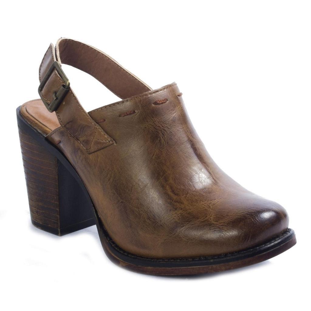 Pierre Dumas Ravenna-3 Women's Vegan Leather Adjustable Slingback Chunky Stacked Heel Clog Mule, New Tan, 10 B(M) US