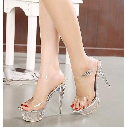 Alto Sandalias Peep Plataforma Zapatos Boda Tacón Cristal Mujer De Toe Correa Cruzada Crystal Boca Aguja Para Zfafa Pescado nPk0Ow
