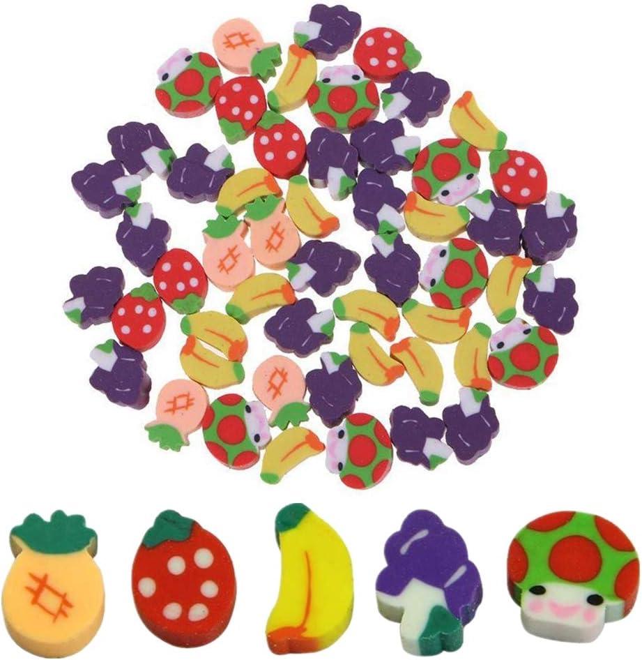 50Pcs Fruit Erasers Colorful Mini Strawberry Pineapple Banana Mushroom Shape Novelty Assorted Eraser for Homework Rewards,Party Favors,Gift Filling Kids Classroom Small Prizes Random Colors