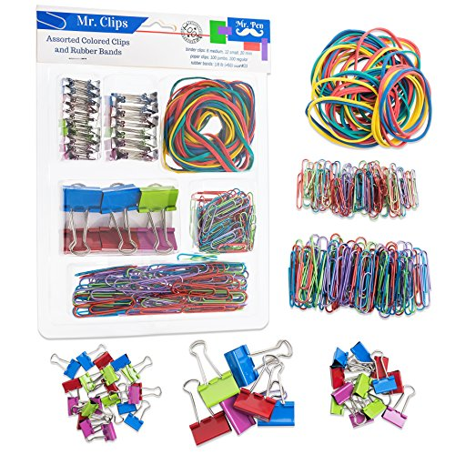 Mr. Pen- Assorted Colored Binder Clips, Paper Clips, Rubber Bands, Paper Clips Jumbo, Paper Clips small, Binder Clips Small, Binder Clips Medium, Binder Clips Mini, Color Rubber Bands, Foldback Clips Acco Colored Binder