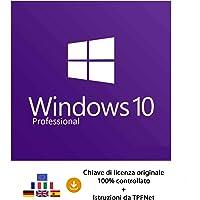 MS Windows 10 Pro 32 bit e 64 bit - Chiave di Licenza Originale per Posta e E-Mail + Guida di TPFNet® - Spedizione max. 60min