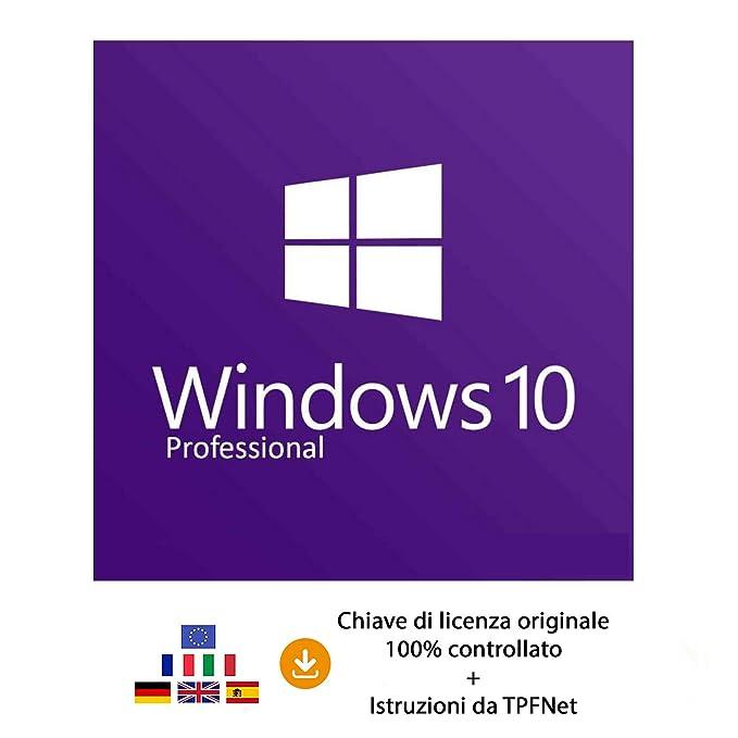 bebe10acd74e01 MS Windows 10 Pro 32 bit e 64 bit - Chiave di Licenza Originale per Posta