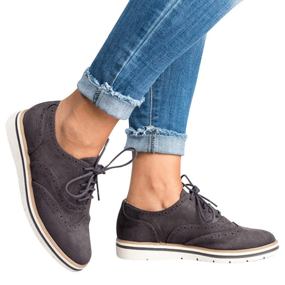 Womens Ankle Flat Suede Lace-up Sport Shoes Walking Running Casual Fashion Sneakers (Dark Gray, US:6.5)