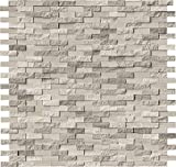 M S International White Oak Splitface 12 In. X 10 mm Marble Mesh-Mounted Mosaic Tile, (10 sq. ft., 10 pieces per case)