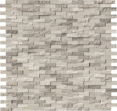 M S International White Oak Splitface 12 In. X 10 mm Marble Mesh-Mounted Mosaic Tile, (10 sq. ft., 10 pieces per case) by MS International