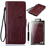 """Sony Xperia Z3 Compact Case, SsHhUu [Dandelion Embossing] Magnetic Stand Card Slot PU Leather Flip Protective Wallet Slim Cover + Stylus Pen for Sony Xperia Z3 Compact / Z3 mini D5083 (4.6"""") Brown"""