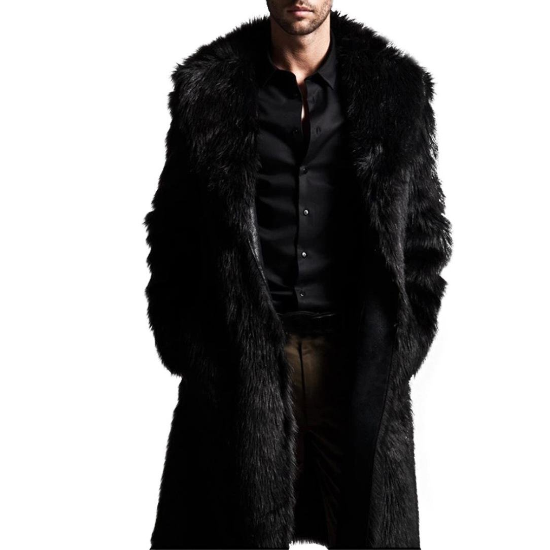 Forthery Men's Faux Fur Jacket Warm Thick Coat Long Cardigan (Tag XL= US L, Black)
