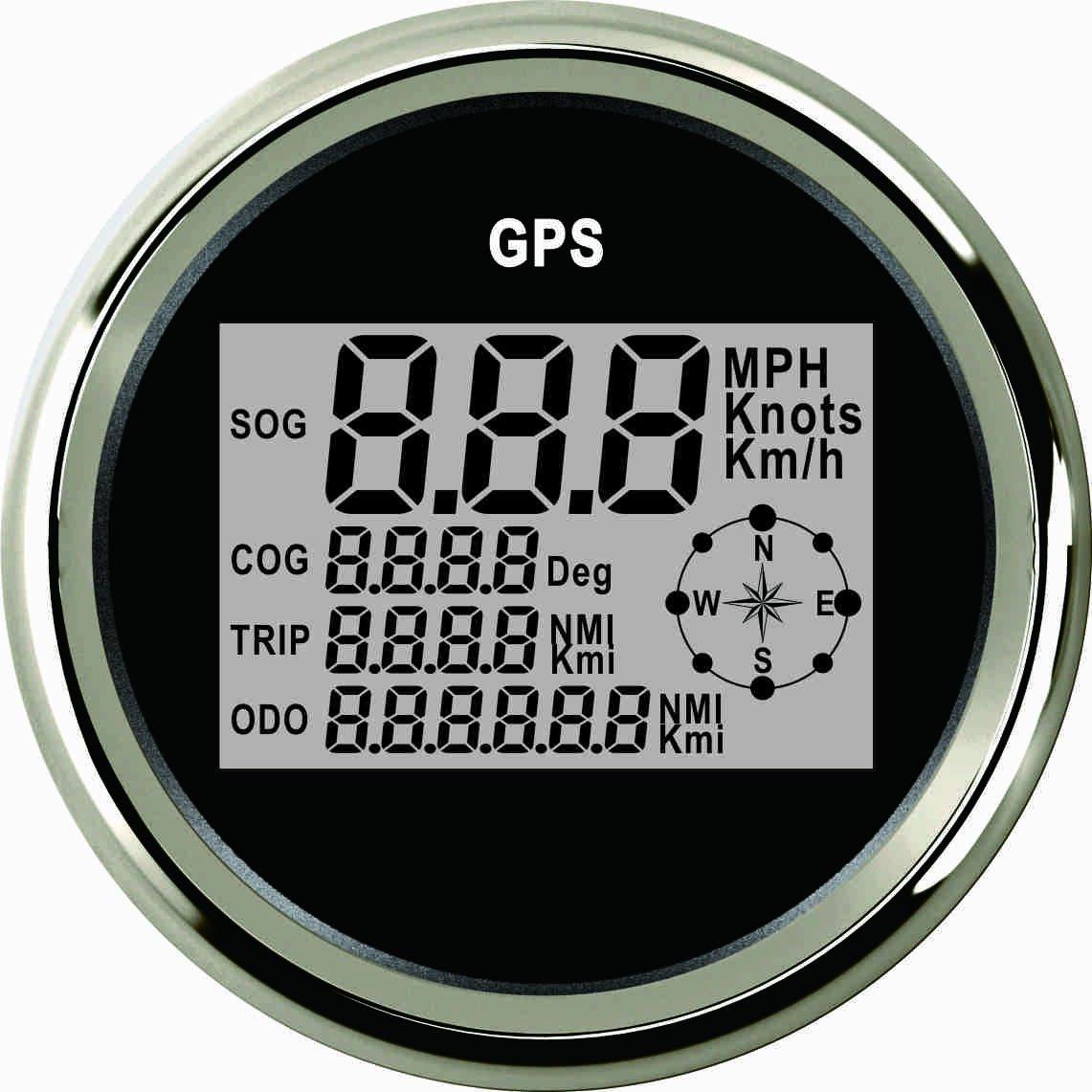 Digital GPS velocí metro Speedo calibre para coche motocicleta camió n yate barco 3 –  3/8 '(85 mm) 9 –  32 V ELING