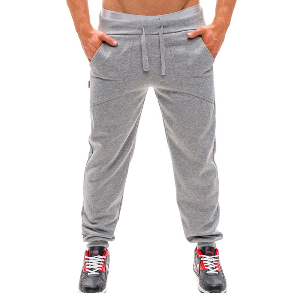 OWMEOT Men Pants, Joggers Pants for Men Athletic Sweatpants Gym Workout Slim Fit with Pockets (Silver, XL)