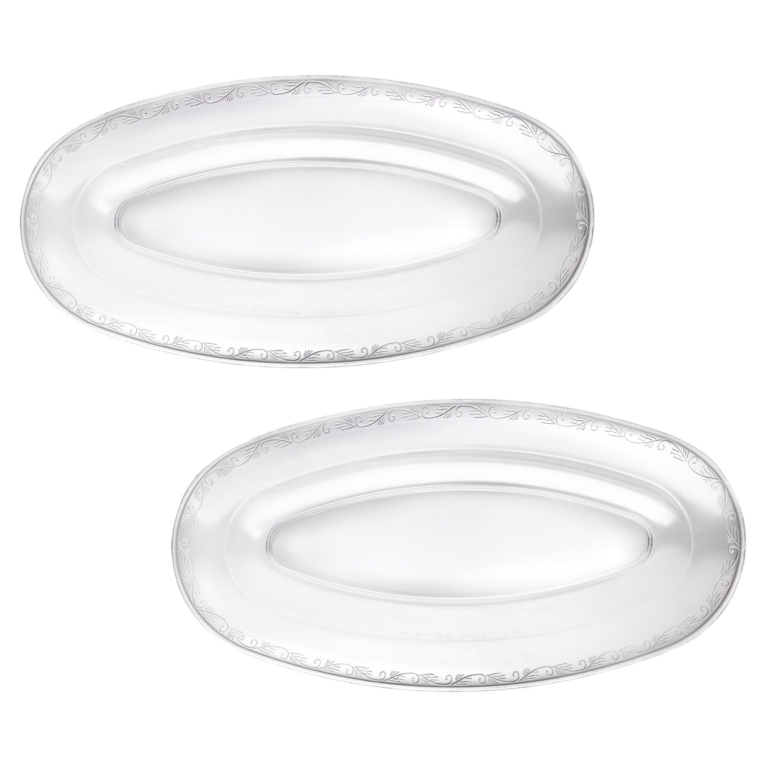 Party Essentials N207105 Hard Plastic Oval Serving Trays 20.75 X 10.5 Clear