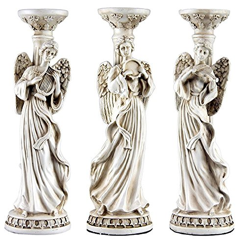 Oh! Trendy Angel Candle Holder Trio 3-Piece Set Decorative Candle Stand in Greco Roman Ivory Style Modern Home Decor by ()