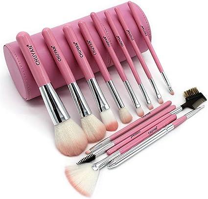 set de brochas para maquillaje Tubo de almacenamiento para principiantes del juego de pinceles de maquillaje de fibra de carbón de bambú, 13 pinceles de color rosa + cubo de pintura: Amazon.es: