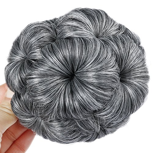 - HANNE Hair Chignon Pony Tail Bun Artificial Synthetic Tress Claw In Ponytail Hair Extension Women's Hairpiece (Mixed Gray)
