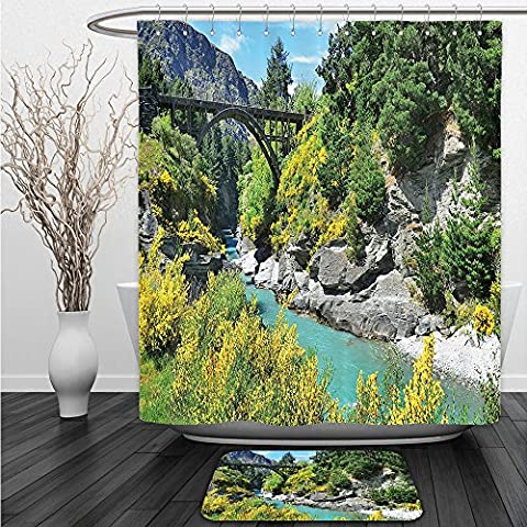 Vipsung Shower Curtain And Ground MatScenery Decor Old Stone Bridge over the River between Cliffs Pure Terrain Wilderness Image Green GreyShower Curtain Set with Bath Mats - Terrain Wonder Wash