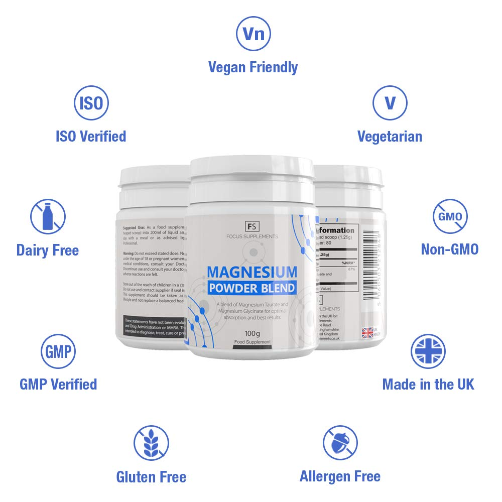 Magnesium Powder Blend - 50:50 de Glicinato y Taurato de Magnesio - Suplemento de Biodisponibilidad Alta - Focus Supplements - Mezclado y Empaquetado en UK ...