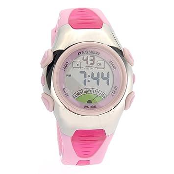 PIXNOR PASNEW PSE-219 impermeables niños chicos chicas LED Digital deportes reloj con alarma de fecha /Stopwatch (rosa): Amazon.es: Deportes y aire libre