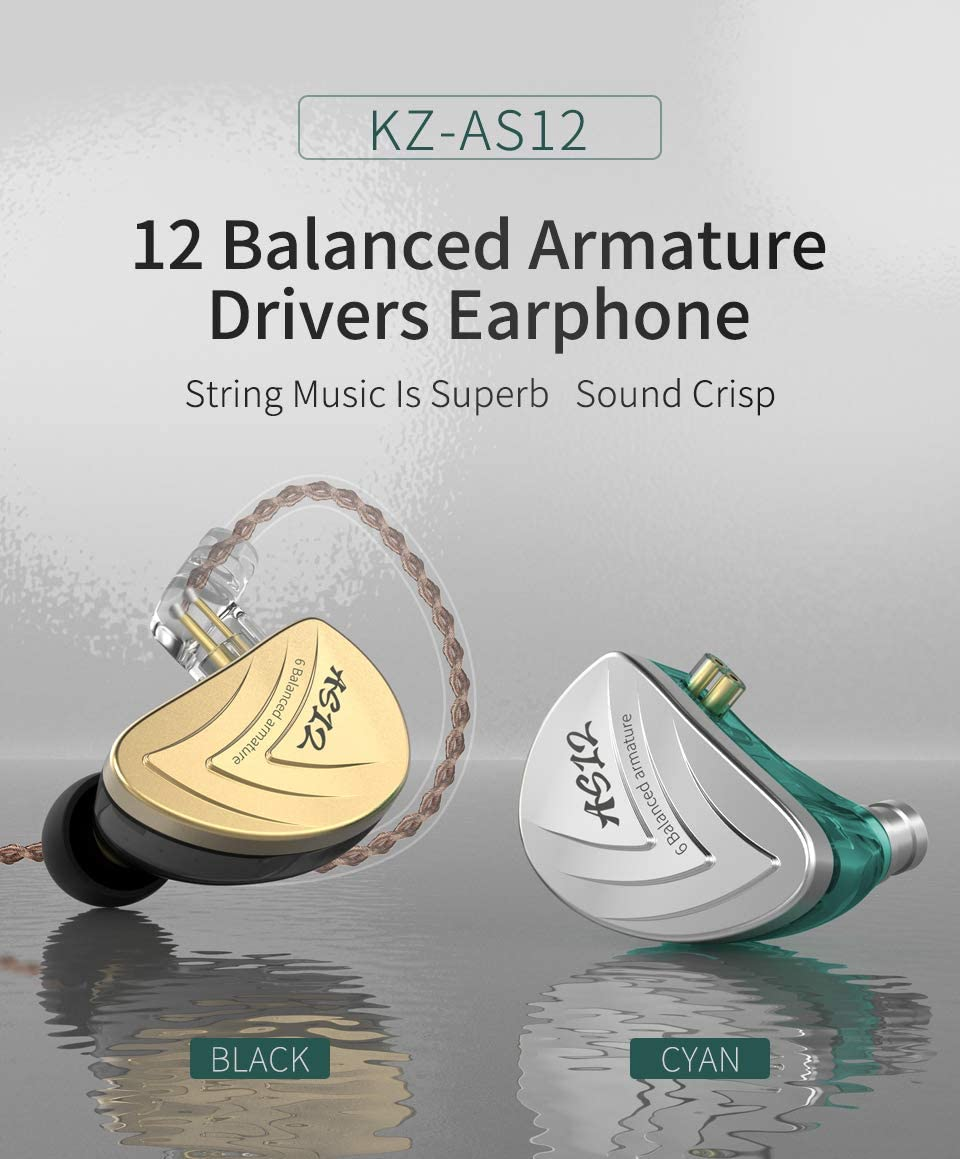 KZ AS12 6BA in Ear Monitor Yinyoo KZ IEM Wired Headphones Earphones HiFi Stereo Sound Earbuds Noise Cancelling Ear Buds with 6 Balanced Armature Drivers 0.75mm 2pins Cable Without mic, Silver