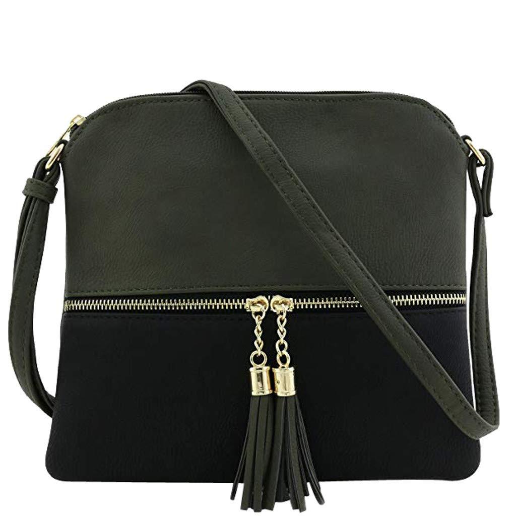 Borsa a tracolla donna,zip borsa portafoglio donna borsa donna morbida cuoio Solido per donna nappa Borsa a tracolla Busta per buste borsa donna tracolla zip PANPANY