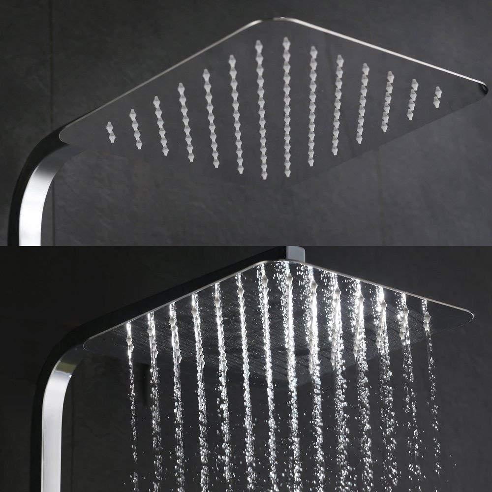 10 Pulgadas Aufun Alcachofa de Ducha Ronda 25 cm Moderna Cabezal de Ducha Acero Inoxidable Ducha de lluvia Placa de Ducha boquillas antical lluvia pulida para Ba/ño