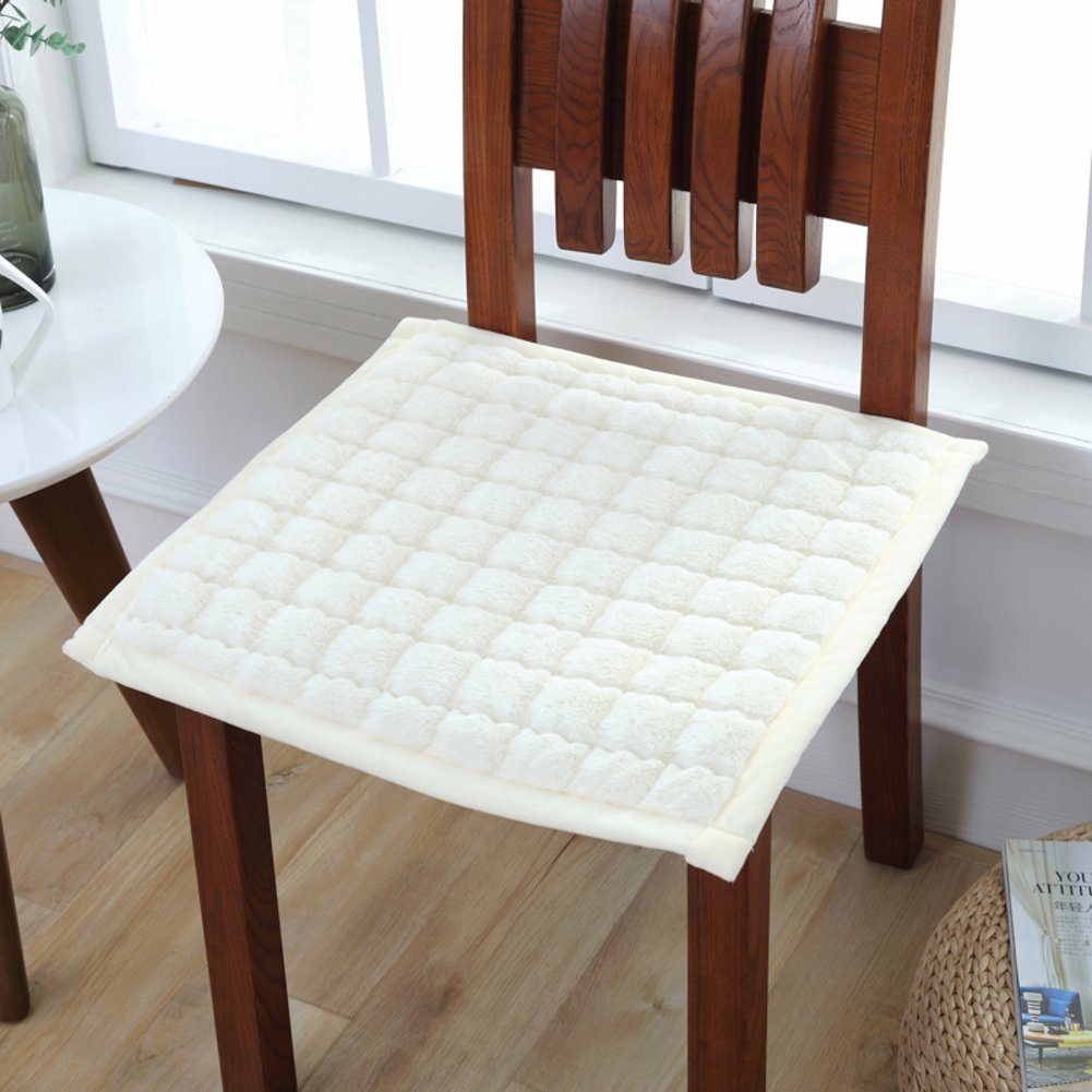 YQ WHJB Square Chair pad,Solid Color Seat Cushions,Soft Plush Nonslip Office Car Dining Assorted Colors Overstuffed Buttocks Cushions-White 47x47cm(19x19inch)