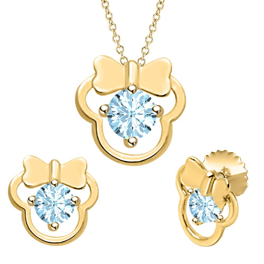 tusakha Cute Minnie Mouse 14k Yellow Gold Over .925 Sterling Silver Gemstone Earring Pendant Set for Girls
