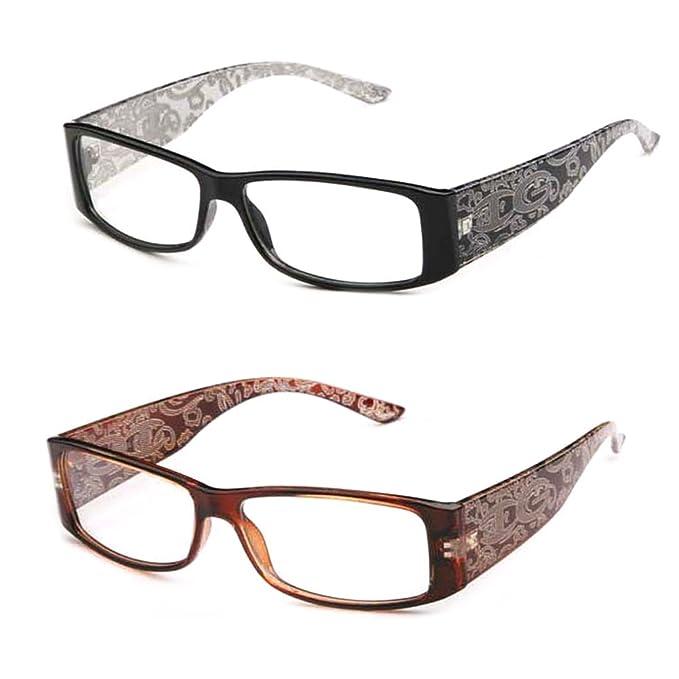 d819e0f88335 Amazon.com  Newbee Fashion- IG High Fashion Stylish Floral Design Women  Rectangular Plastic Frames Clear Lens Eye Glasses Flat Top  Clothing
