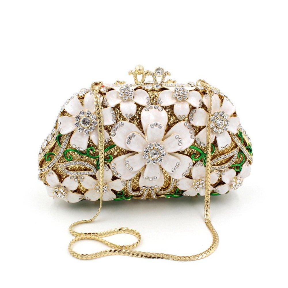 Flada Girl \' s Women fiore strass borsetta sera beni frizione borsa per il partito di nozze nuziale Prom bianco
