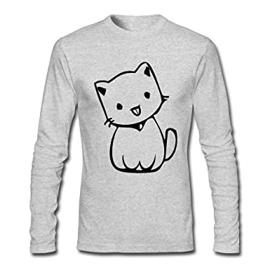 3f17309be8e9 Cat With Tongue Out Cartoon Men s Sport Tee Crew Neck Long Sleeve T-Shirt