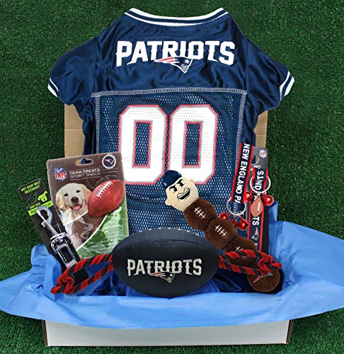 - NFL New England Patriots PET GIFT BOX with 2 Licensed DOG TOYS, 1 Logo-engraved NATURAL DOG TREAT, 1 NFL JERSEY, 1 NFL Puppy Training Bells & 1 Car Seatbelt