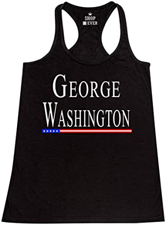 1448293243163 Shop4Ever George Washington Women s Racerback Tank Top President Tank Tops  X-Small Black 0
