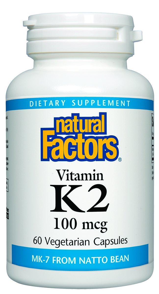 Natural Factors - Vitamin K2 100mcg, Supports Bone & Vascular Health, 60 Vegetarian Capsules