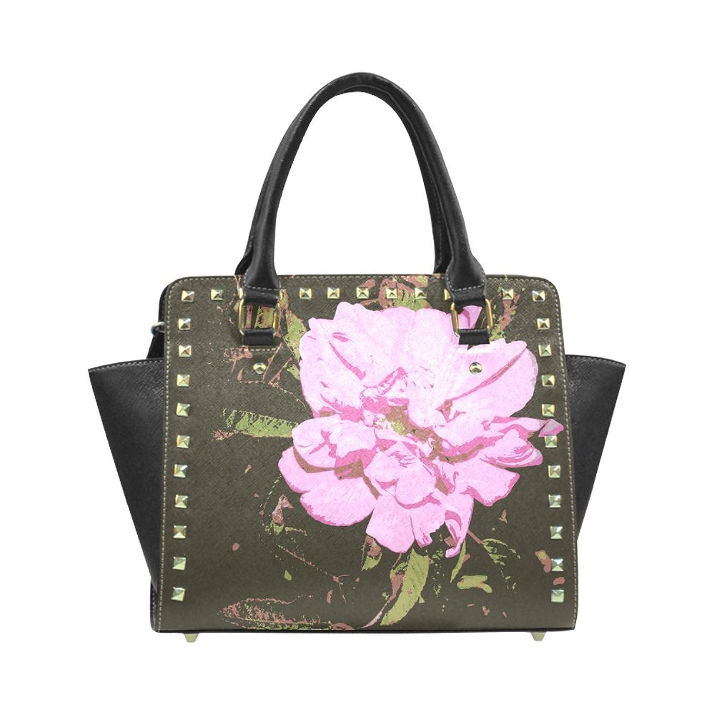 Oil Painting Pink Rose PU Leahter Wings Rivet Shoulder Handbag For Fashion Women/Girls
