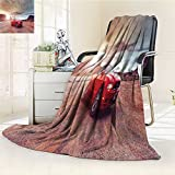 Fleece Blanket 300 GSM Anti-Static Super Soft Monument Valley Utah USA June Photo of a Ford Mustang Convertible Version at Warm Fuzzy Bed Blanket Couch Blanket(60'x 50')