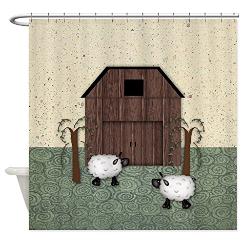 CafePress Barn Sheep Decorative Fabric Shower Curtain - Sheep Barn