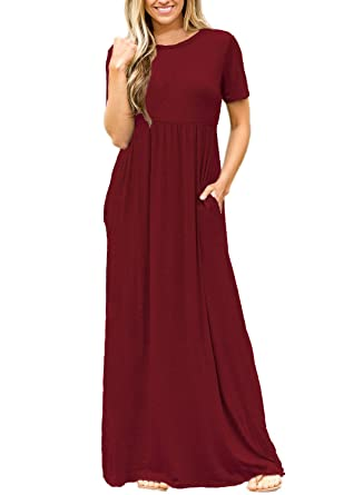 48e1f4c92e Byoauo Womens Casual Maxi Dress Short Sleeve Round Neck Long Dresses with  Pockets,Wine Red