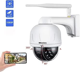 Cámara IP Exterior, Camara IP WiFi 1080p, Cámara PTZ Vigilancia Exterior WiFi Motorizada P/T 5 X Zoom Visión Nocturna 20M Detección de Movimiento Monitorización Remota vía PC/Smartphone/Tableta