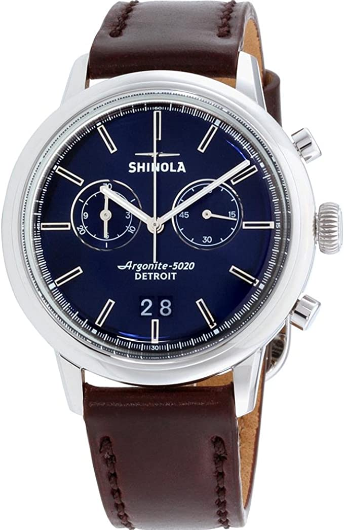 Amazon.com: Shinola The Bedrock Quartz Movement Blue Dial Men's Watch  20065290: Watches