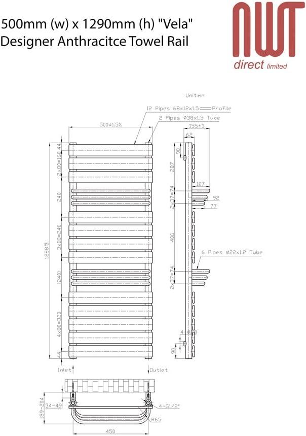 h 504mm w Vela Anthracite Designer Towel Rail 2524 BTUs x 1290mm