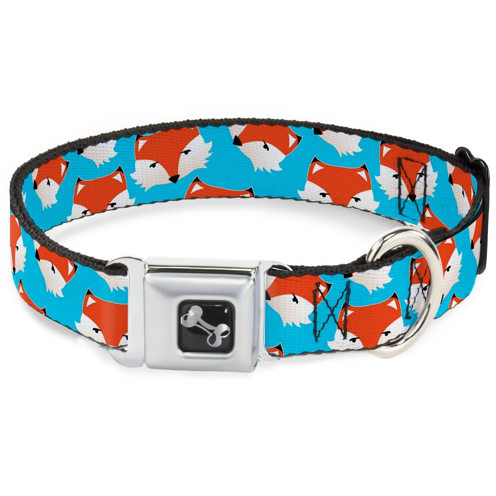 Buckle-Down Fox Face Scattered Sky bluee Dog Collar Bone, Small 9-15